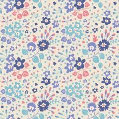 Tela Confeti Flores Azules