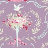 Tela Lila Malva Canto Pájaros