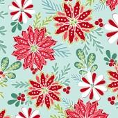 Tela Teal Claro Flores Navidad