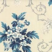 Tela Crema Ramos Flores Azules