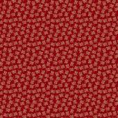 Tela Rojo Rubí Helechos
