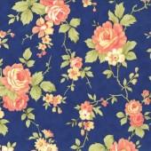 Tela Azul Rosas