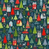 Tela Azul Arboles Navidad