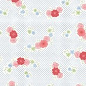 Tela Blanca Puntos y Flores