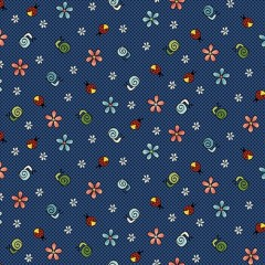 Tela Azul Marino Caracoles