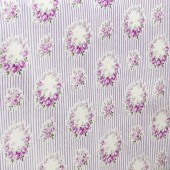 Roses Purple Lines White Japanese Fabric