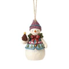 Adorno Mini Muñeco de Nieve con Piña