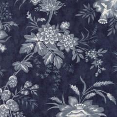 Tela Azul Oscuro Flores