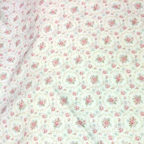 Tela japonesa rosa flores mi casita de patch tienda de for Telas marfil malaga