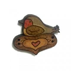 Botón Pájaro y Corazón