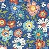 Tela Azul Marino Flores