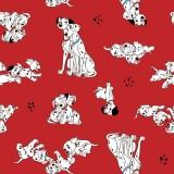 Tela Roja Pongo Perdy y Cachorros
