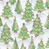 Tela Azul Claro Arboles de Navidad