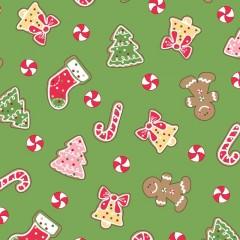 Tela Verde Galletas Navidad