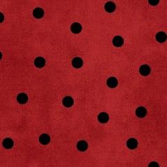 Tela Franela Roja Puntos Negros