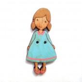 Pepita Turquoise Button