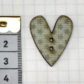 Botón Corazón Teal Flores