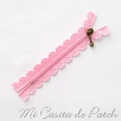 Pink Zipper with Lace Flower - 20 cm