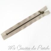 Cremallera Metálica Marrón Claro sin Tirador - 10 cm