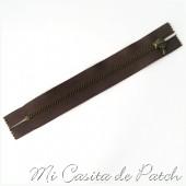 Cremallera Metálica Marrón Chocolate sin Tirador - 10 cm