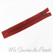 Cremallera Metálica Roja sin Tirador - 10 cm