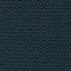 Tela Azul Marino Conchas Puntos