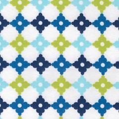 Tela Franela Blanca Azulejos Marino